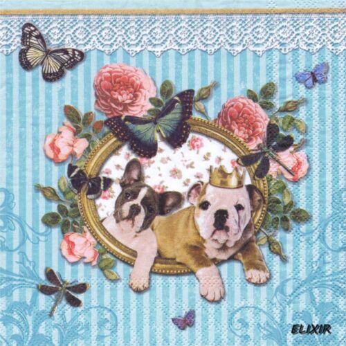 SERVIETTES EN PAPIER CHIENS CARLIN BOULEDOGUE/&DENTELLE.PAPER NAPKINS DOGS/&LACE