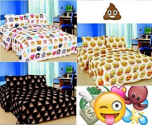 EMOJI EMOTION POOH SMILEY FACES PIZZA DUVET COVER