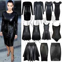 New Womens PVC Wet Look Cami Vest Top Boobtube Midi Dress Legging Skirt Bodysuit