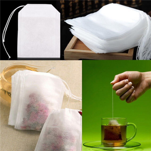 100x non-woven Empty Teabags String Heat Seal Filter Paper Herb Loose Tea Bags O