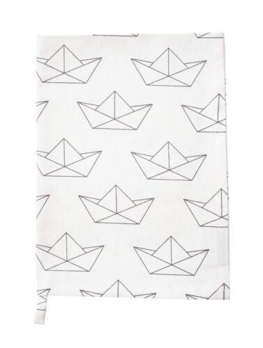 Krasilnikoff Torchon papier navires blanc avec des navires gris coton maritime