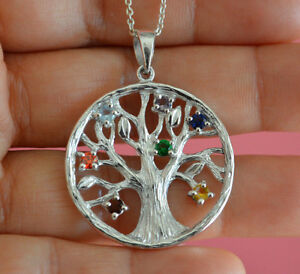 925-Sterling-Silver-Big-Round-Chakra-Tree-of-Life-Pendant-Necklace-NEW