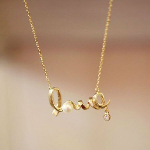 Fashion Alloy LOVE Letter Pearl Long Chain Necklace Women Jewelry Gift