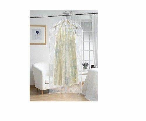 NEUF H /& L Russel PEVA Toucher Doux Long Vêtement Housse Clear White Trim Set de 2