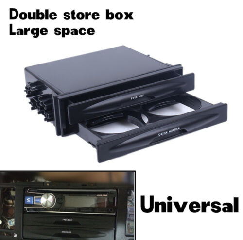 Universal Car Single//Double Din Radio Pocket Kit w//Drink-Cup Holder Storage Box