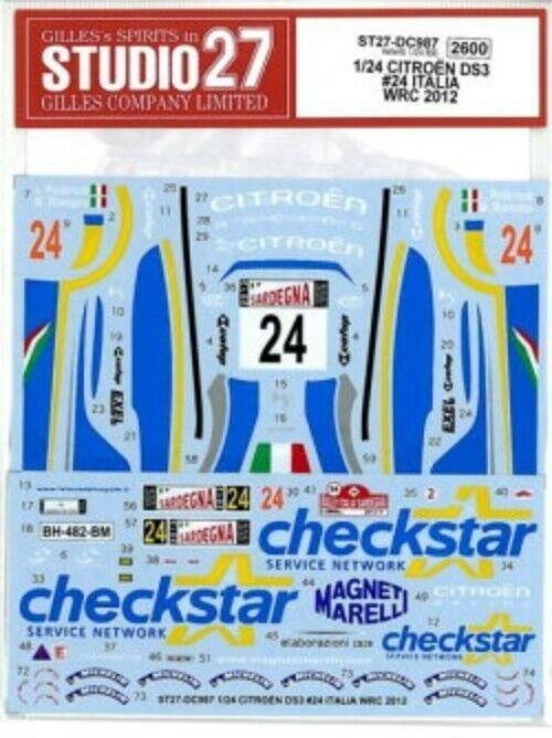 Studio27 1 24 Citroen Ds3 Italia WRC 2012 para Heller Dc987 Calcamonía