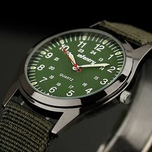INFANTRY-Mens-Quartz-Wrist-Watch-Analog-Luminous-Sport-Military-Army-Green-Nylon