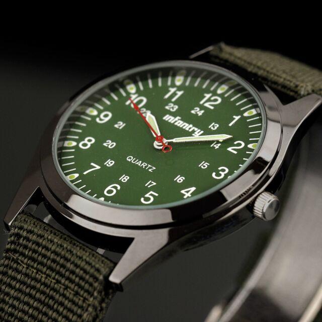 INFANTRY Mens Quartz Wrist Watch Analog Luminous Sport Military Army Green Nylon