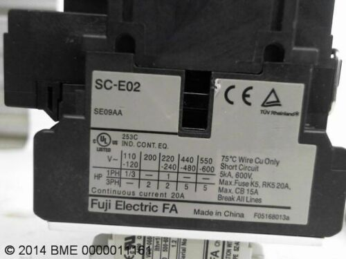 2 FUJI SC-E02 WITH SZ-A11//T MOTOR CONTACTORS WITH AUXILARY CONTACT BLOCK