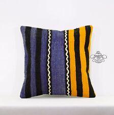 "Striped Turkish Kilim Rug Pillow Ethnic Cushion Cover Floor Sofa Throw 16x16"""