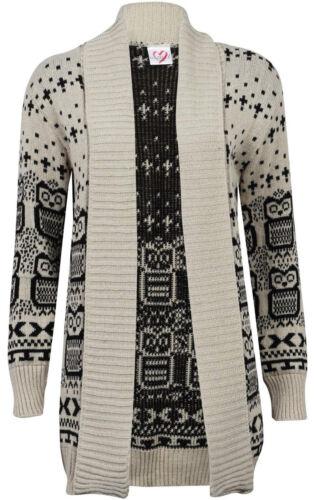 Femme Femmes Owl Imprimer tricot Pull à Manches Longues Ouvert Cardigan Grandes Tailles 8-26