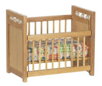 Dollhouse Miniature Crib Oak With Beads Handley Cla10363 1:12 Scale