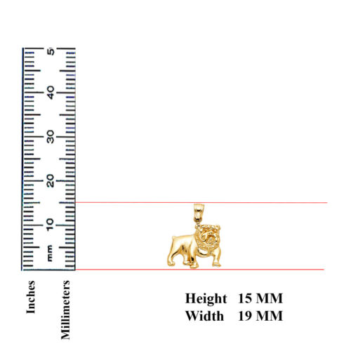 14K Real Solid Yellow Gold Bulldog Pendant For Men Women Bulldog Pendant