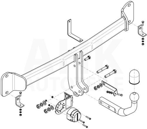 AHK Kpl. Für BMW 5er Touring F11 10-14 Anhängerkupplung starr+ES 13p spez