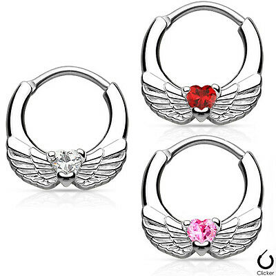 Nose Septum Clicker with Angel Wings & Heart CZ  Rook Tragus