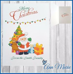 10 PERSONALISED FAMILY DAUGHTER SON NIECE NEPHEW CHRISTMAS CARDS XMAS ENVELOPES