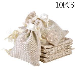10x Wedding Gift Favor Small Burlap Linen Jute Sack Pouch Bag Drawstring Thing
