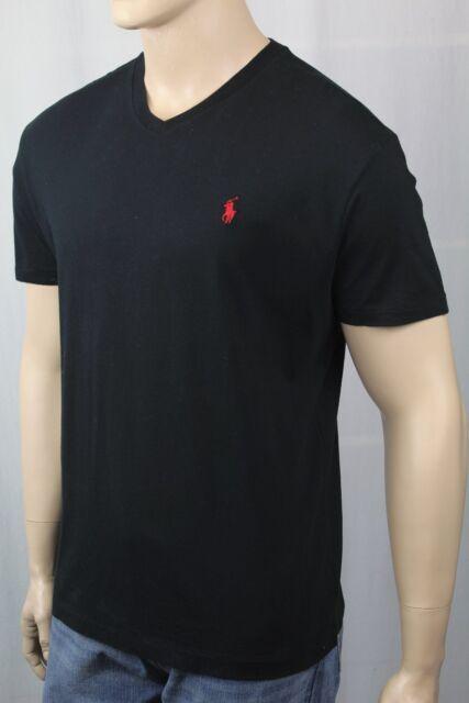 Polo Ralph Lauren Mens Black Short Sleeve V-neck T-shirt Sz S Small ... 0eab2744a