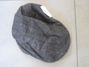 Brunello Cucinelli AUTH NEW Plaid Print Wool Silk Blend Flap Cap M Leather Strap