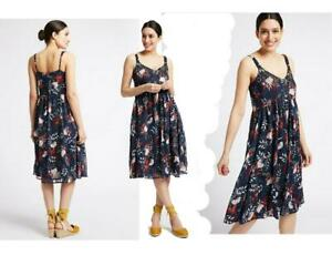 Per-Una-M-amp-S-Navy-Floral-Chiffon-Strappy-Lined-Summer-Dress-6-22-RRP-45