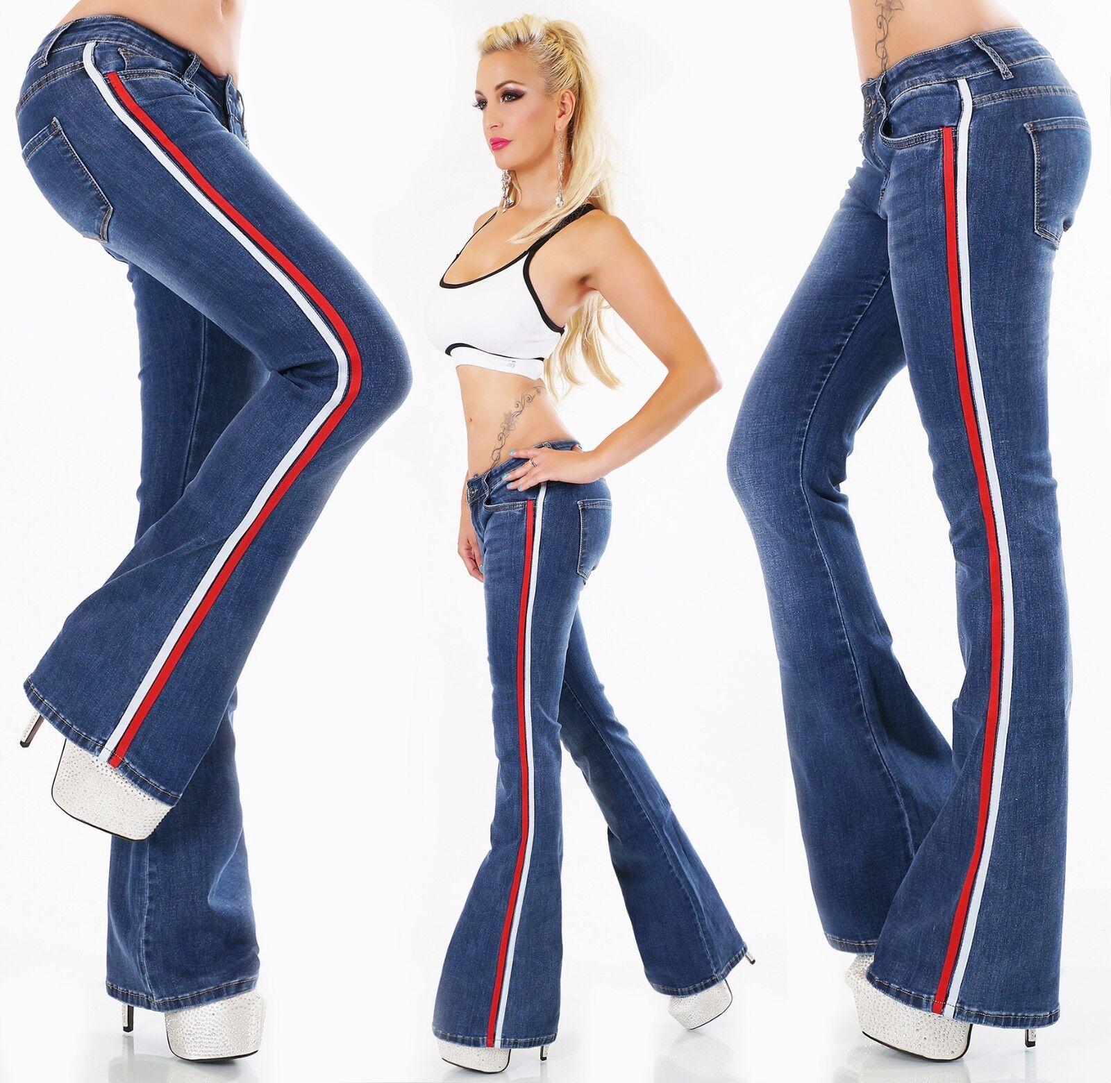 Bootcut Jeans Schlaghose Hose weiter Schlag Flarecut Stretch Streifen XS-XL
