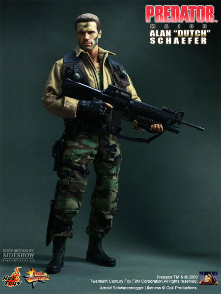 Hot Toys Predator Doll Action Figure  12 Inch Major Alan 'Dutch' Schaefer