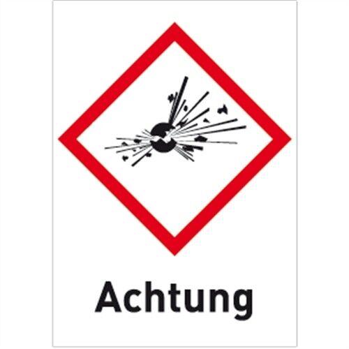 Gefahrstoffetiketten Explodierende Bombe GHS 01 Achtung 14,8x10,5cm