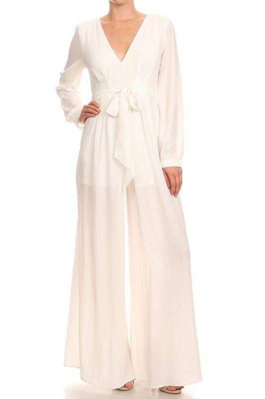 Ivory White Wide Leg Jumpsuit Palazzo Pant Suit