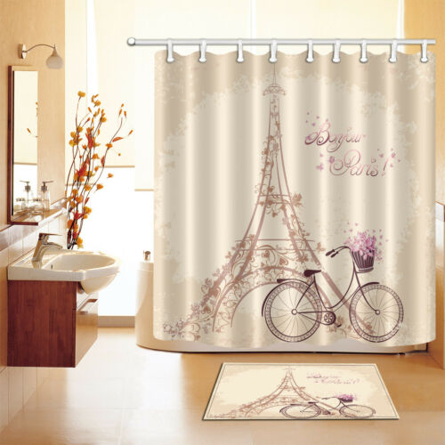 Polyester Waterproof Bonjour Paris Shower Curtain Bath Mat Valentine/'s Day 2541