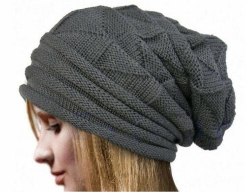 Unisex Knit Baggy Beanie Oversize Hat Ski Slouchy Women Men Warm Winter Cap