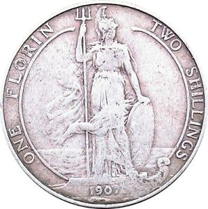 1902-To-1910-Edward-VII-Silver-Florin-Choix-de-l-039-annee-date