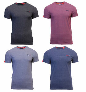 Cuello-redondo-para-hombre-Superdry-Orange-Label-de-Manga-Corta-camiseta-Azul-Marino-Negro-Rojo