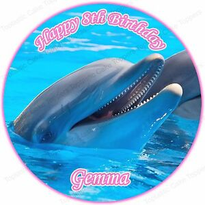 Image Is Loading Personalised Dolphin Round Edible Icing Birthday Party Cake