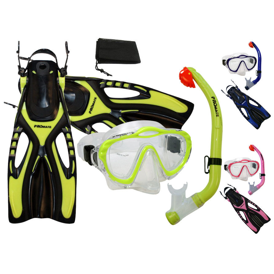 PROMATE Junior Snorkeling Scuba Diving PURGE Mask DRY  Snorkel Fins w  Mesh Bag  leisure
