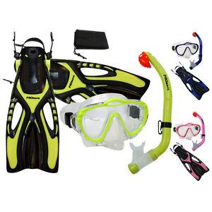 PROMATE-Junior-Snorkeling-Scuba-Diving-PURGE-Mask-DRY-Snorkel-Fins-w-Mesh-Bag