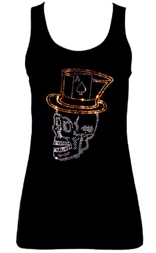 GOTHIC SKULL PIRATE ACE OF SPADES RHINESTONE DIAMANTE  VESTS TANK TOPS all sizes