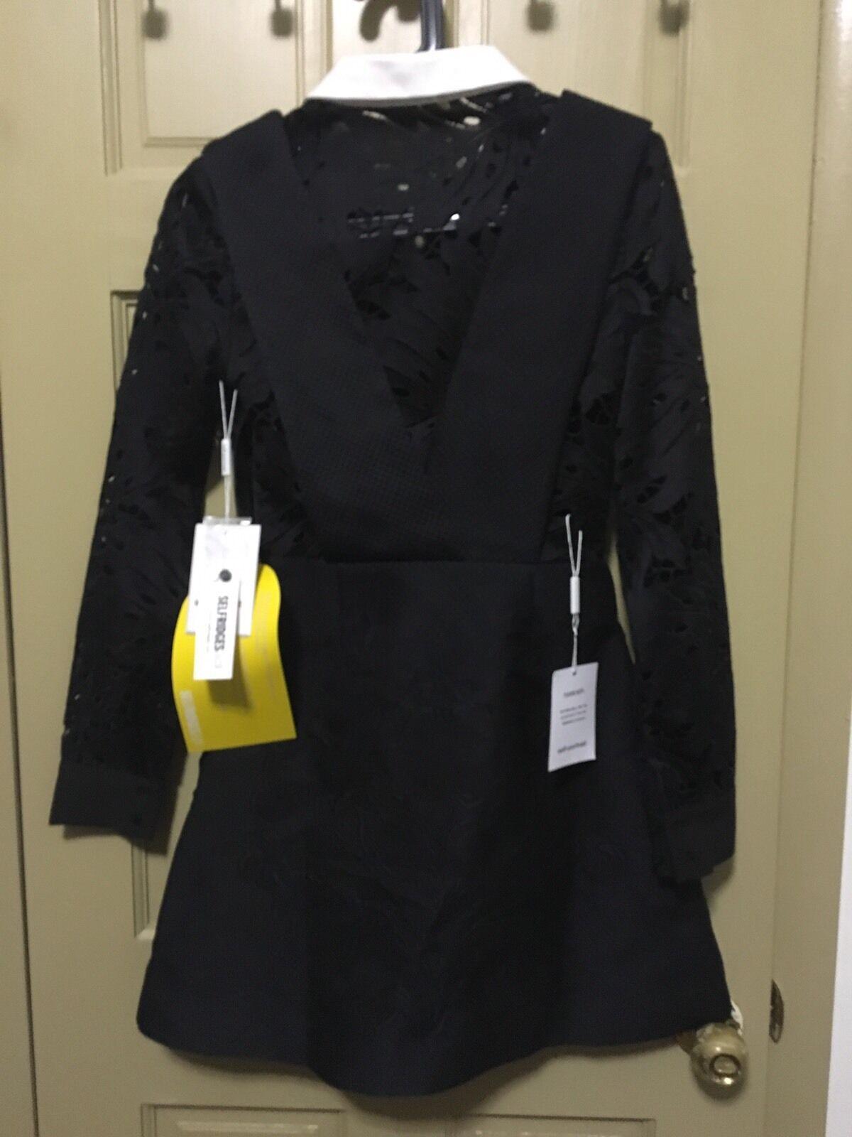 NWT Self-Portrait Botanical Guipure-Lace Quilted Dress Dress Dress US 2 53d52a