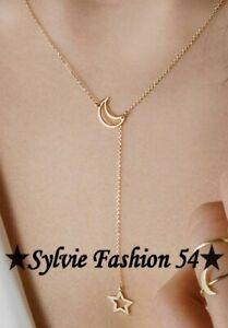 ???????? Beau Collier chaine et pendentif métal doré lune et étoile