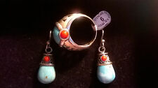 SX THAILAND STERLING TURQUOISE AND RED CORAL EARRINGS AND RING SET NEW IOB