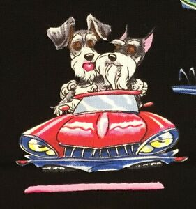 Doggies-Dogs-fabric-By-Mike-McCartney-100-cotton-by-the-yard-Cars-Diner