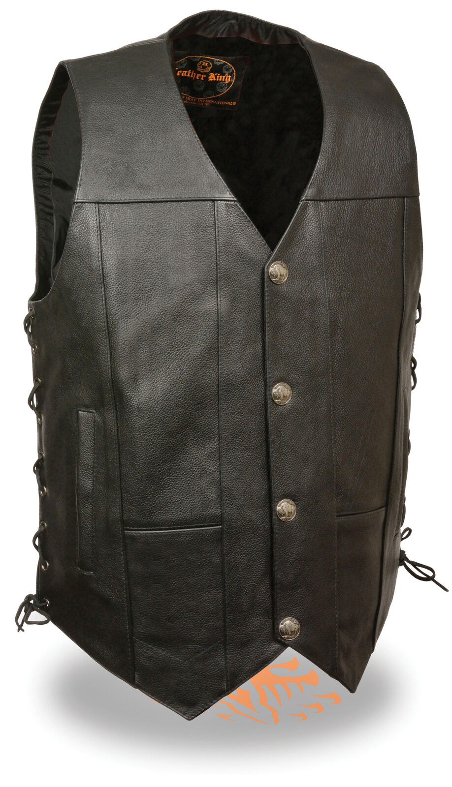 Men's Motorcycle Biker Premium Leather Vest With Buffalo Snaps Side Lace