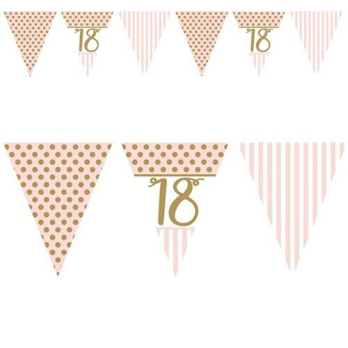 Rose Chic anniversaire Buntings Or Métallique Décorations 18 21 30 40 50 60 70 80