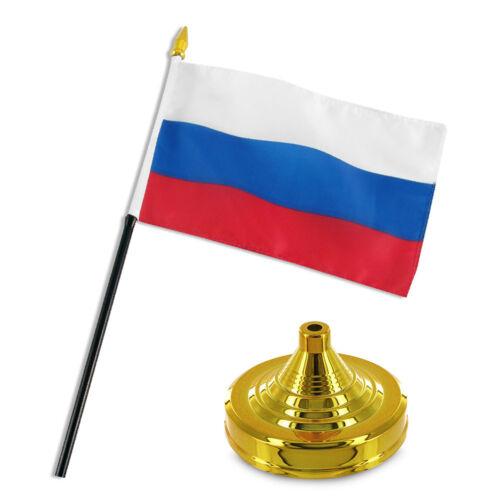 Russland Russische Flagge 10.2cmx15.2cm Schreibtisch Set Tisch Stab Gold Sockel