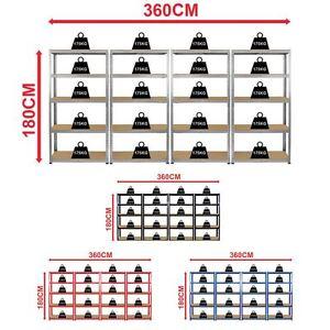 4 Bay Large 5 Tier Shelf Shelves Heavy Duty Steel Racking Boltless Garage Unit