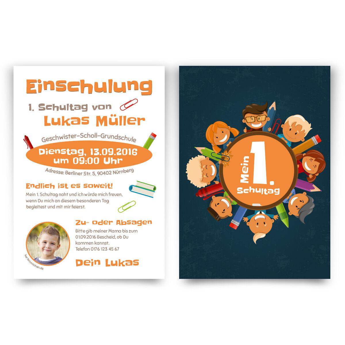 Einladungskarten zur Einschulung - Mein 1. Schultag Kinder erster Tag Einladung