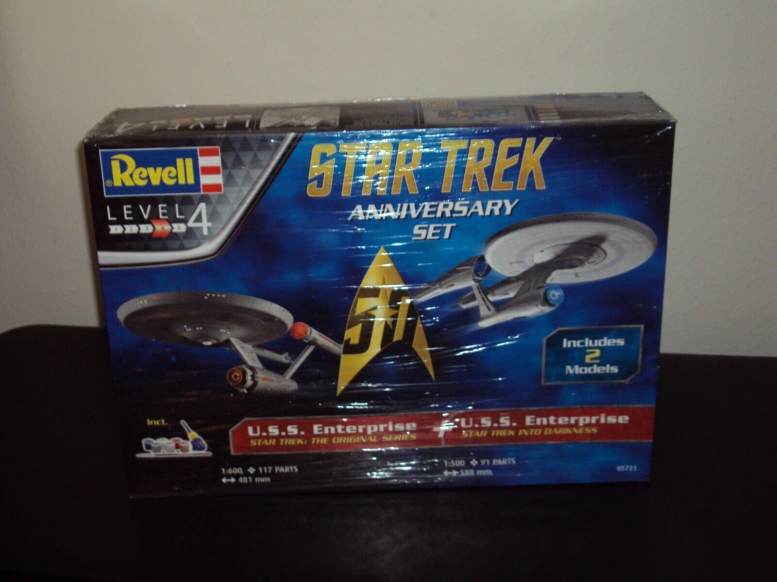 Revell 1 500-600 Scale Star Trek Enterprise 50th Anniversary Set -Factory Sealed