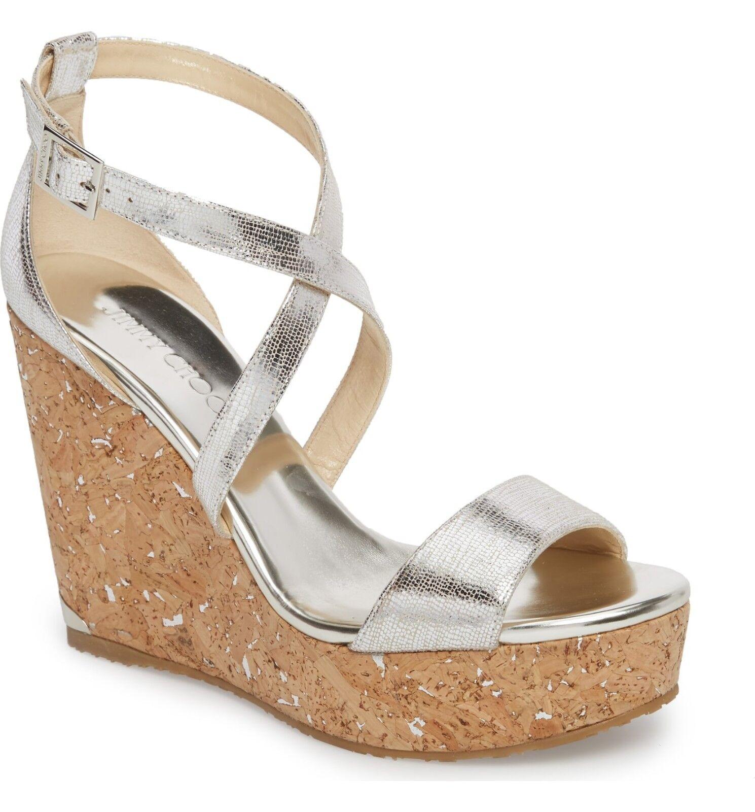 NIB NEW Jimmy Choo Portia argent platform wedge sandals 39 8.5 9