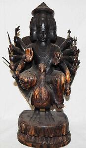 antike-SCHNITZKUNST-INDIEN-BALI-GOTT-SHANMUKHA-ARUMUGAN-Kriegsgott-Beschuetzer