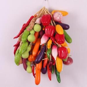 Detalles De Cinco Cadenas Frutas Y Verduras Artificiales Colgante De Pared Cocina Decoración