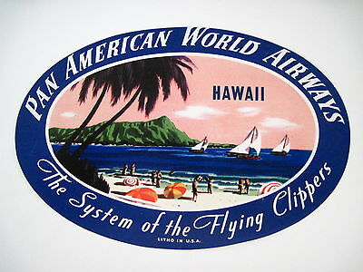 "Dashing Vintage "" Pfanne American World Airways "" Label W / Schöne Hawaii Bild N"